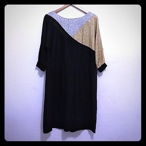 Sprouts by Vicky Vaighn Gold Silver Black Dress